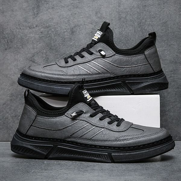 Men Minimalist Lace-up Front Running Shoes, Grey