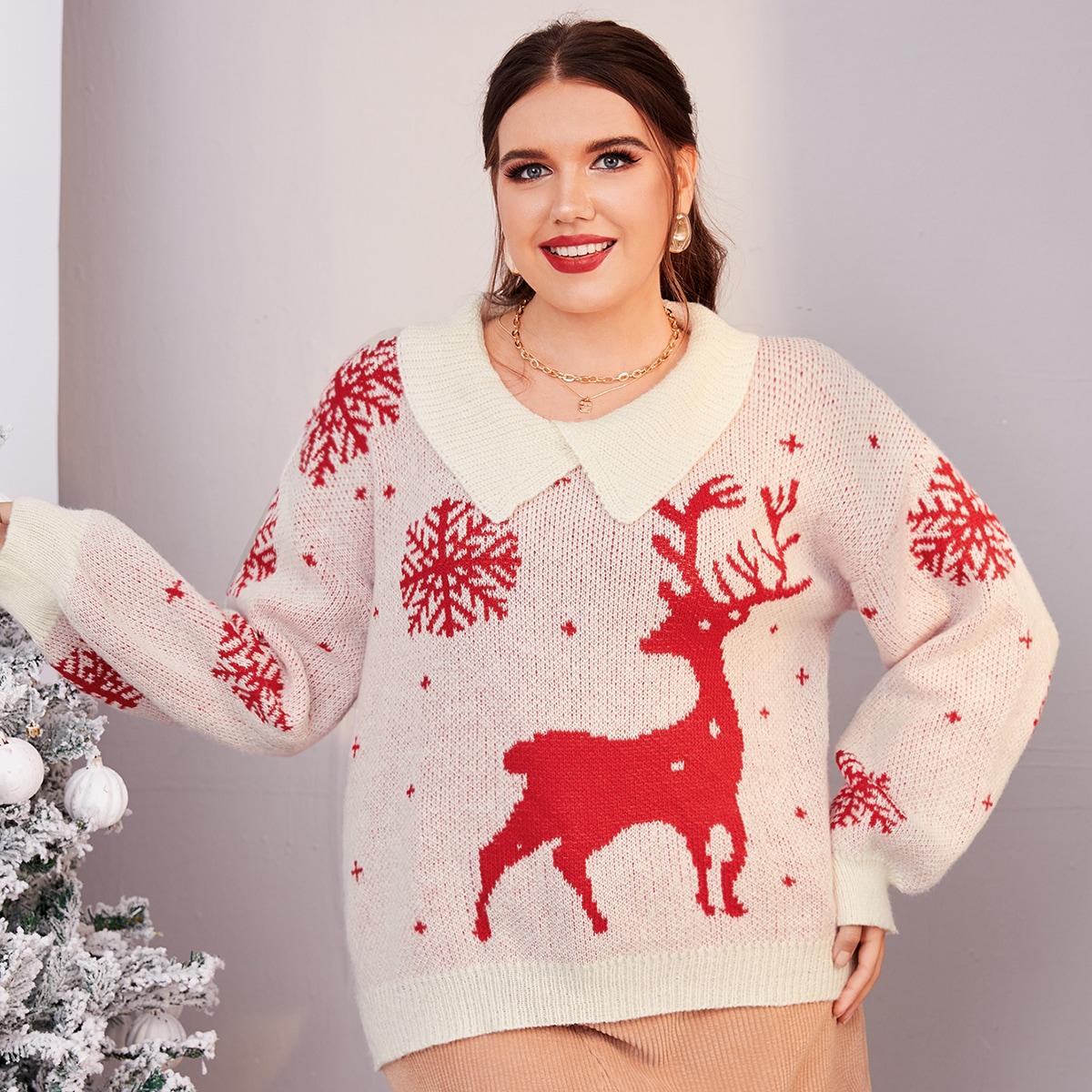 Plus Christmas Elk & Snowflake Pattern Drop Shoulder Sweater