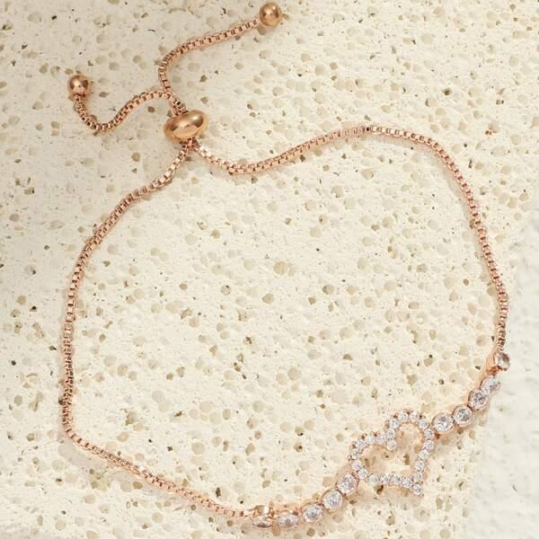 Hollow Out Heart Design Adjustable Bracelet, Rose gold