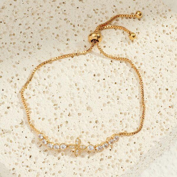18k Gold Plated Zircon Decor Adjustable Bracelet