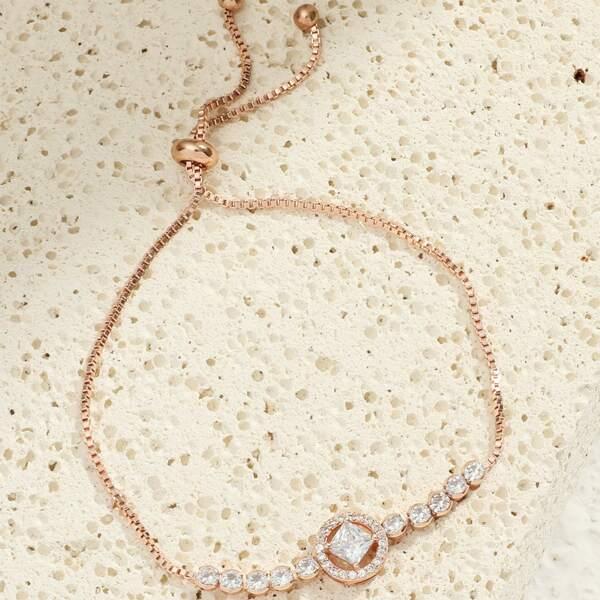 Zircon Decor Adjustable Bracelet, Rose gold