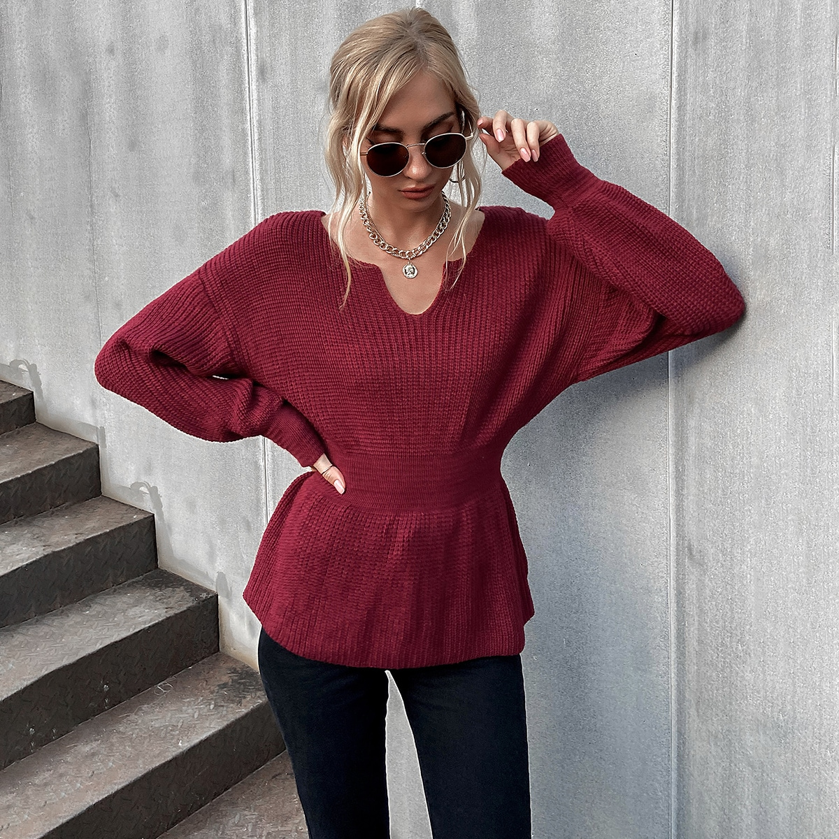 Solid Notch Neck Shirred Waist Sweater, SHEIN  - buy with discount