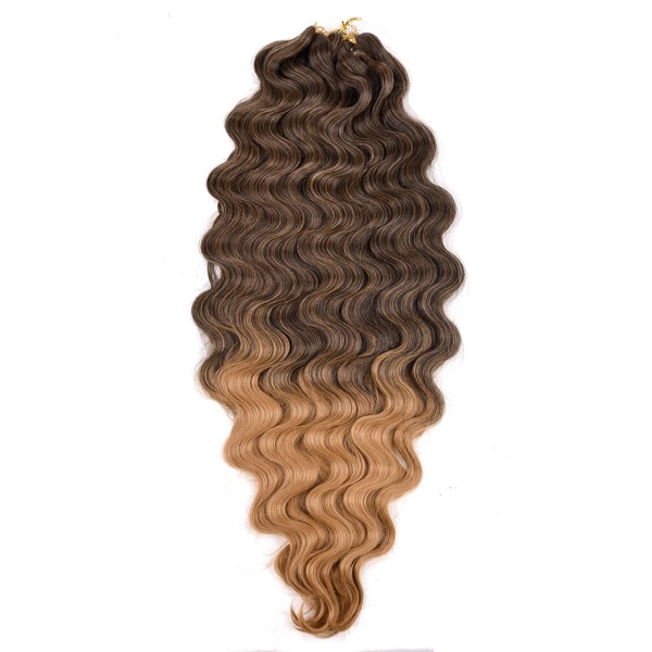 3pcs Long Curly Synthetic Hair Extension, Chocolate brown