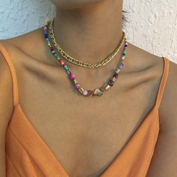 2pcs Minimalist Beaded Necklace, Multicolor