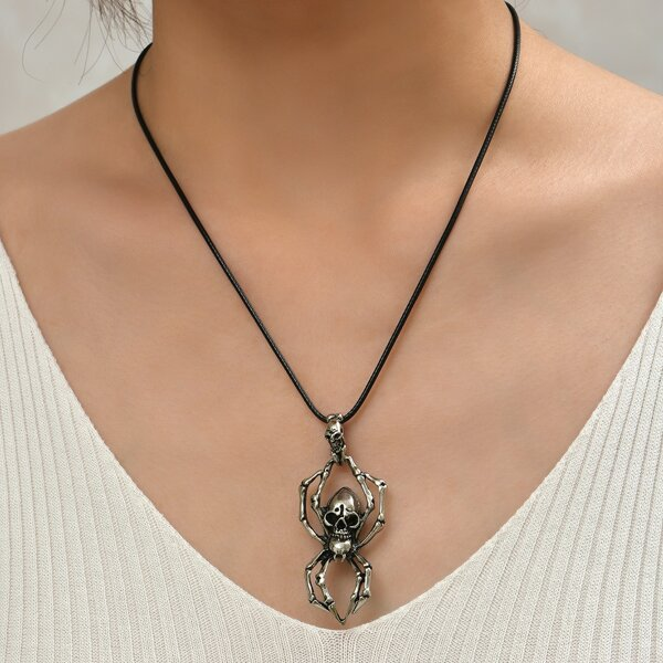 Skull Detail Spider Pendant Necklace, Antique silver