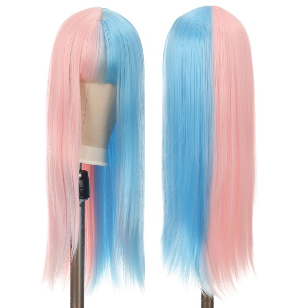 Two Tone Long Straight Synthetic Wig With Bangs, Multicolor