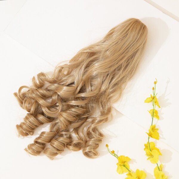 Long Curly Synthetic Hairpiece, Beige