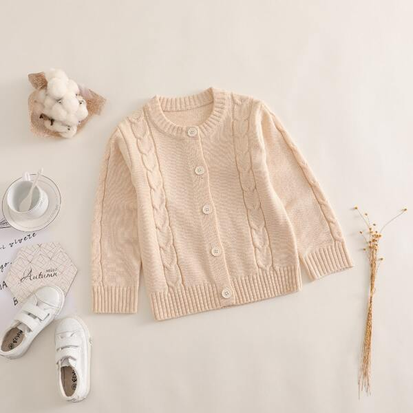 Girls Cable Knit Button Front Cardigan, Apricot