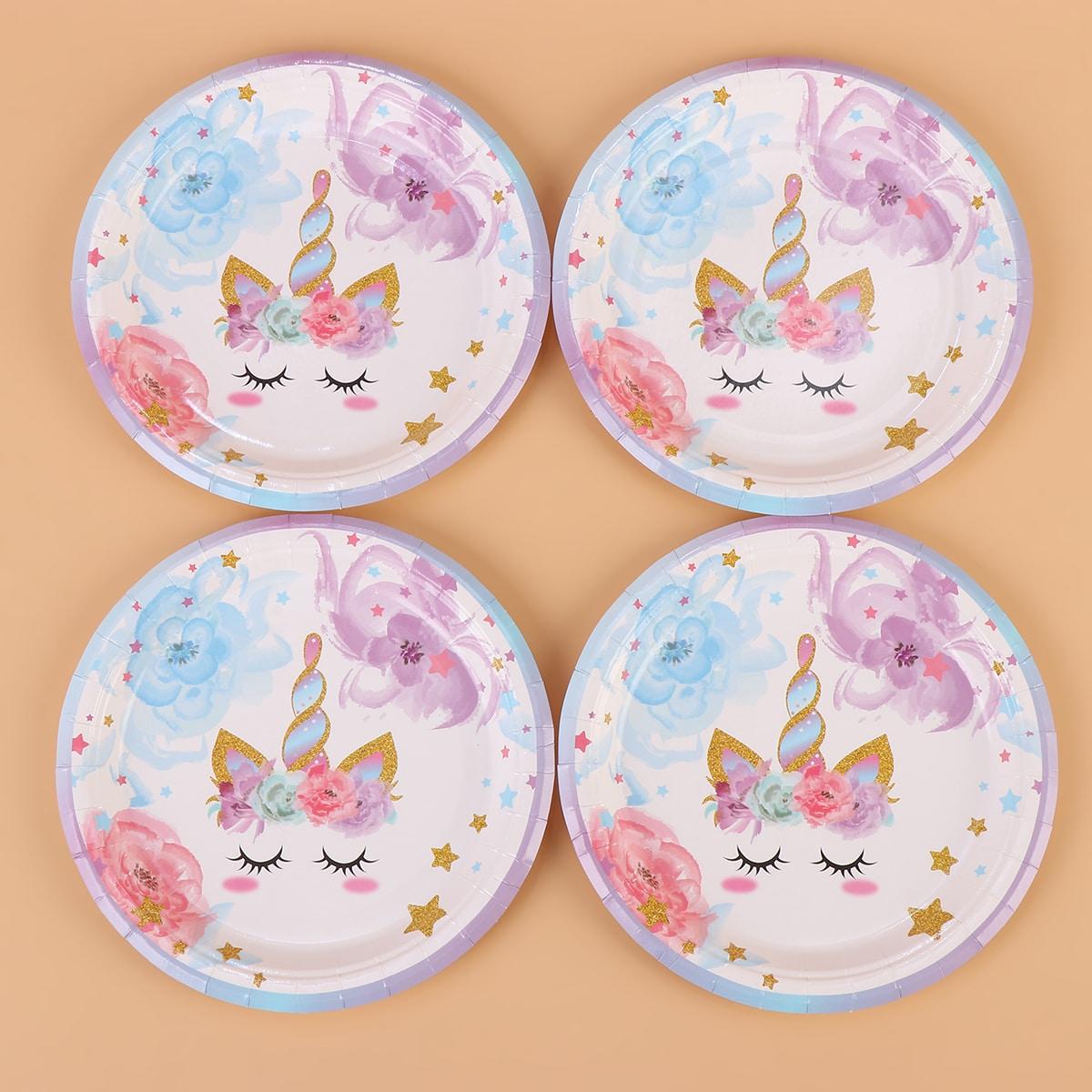 16pcs Unicorn Print Disposable Plate