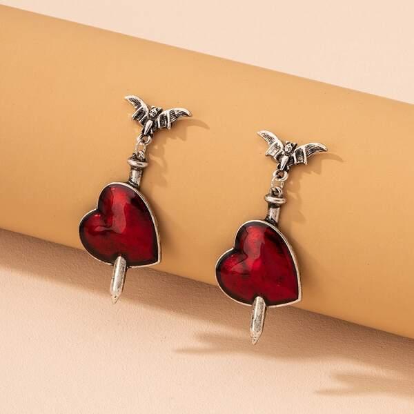 Halloween Heart Drop Earrings, Multicolor