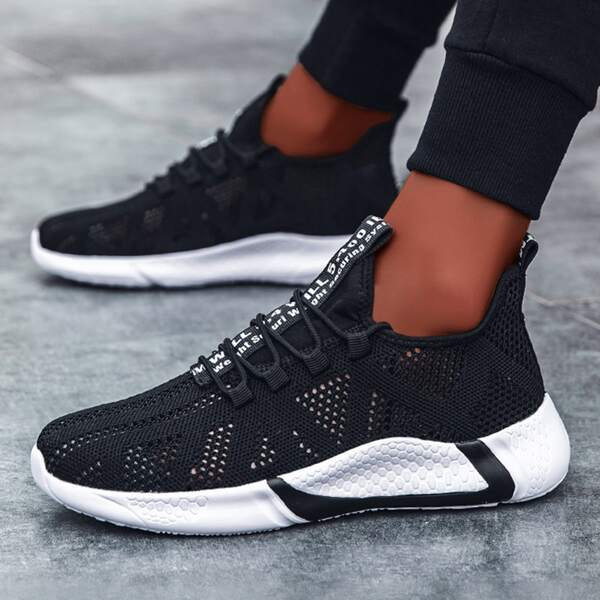 Men Letter Graphic Lace-up Front Hollow Out Sneakers, Black