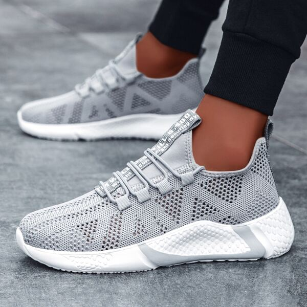 Men Letter Graphic Lace-up Front Hollow Out Sneakers, Grey