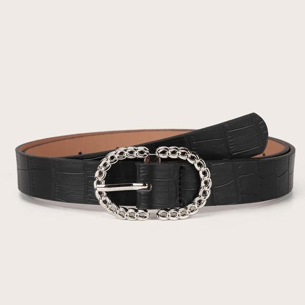 Croc Embossed Belt & Hole Punch, Black