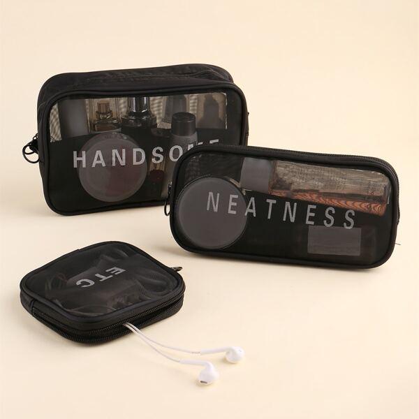 3pcs Makeup Bag Set, Black