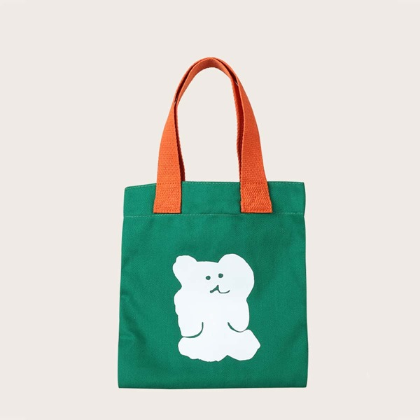 Kids Cartoon Graphic Shopper Bag, Green