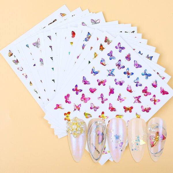 18sheets Butterfly Pattern Nail Art Sticker, Multicolor