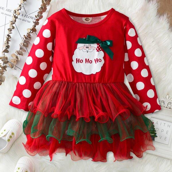 Toddler Girls Polka Dot & Christmas Santa Print Layer Mesh Hem Dress, Red