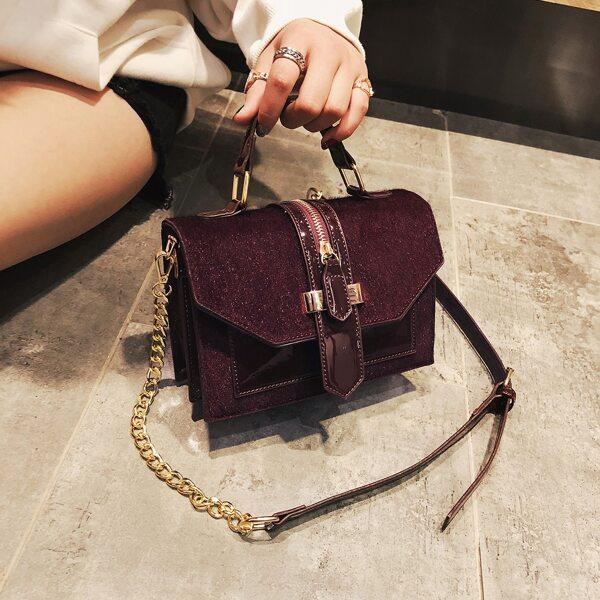 Zipper Decor Flap Square Bag, Red