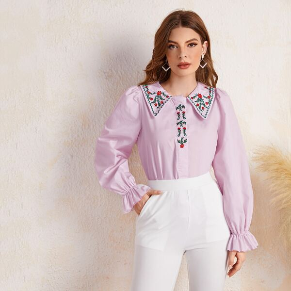 Floral Embroidery Peter-pan Neck Flounce Sleeve Blouse, Purple