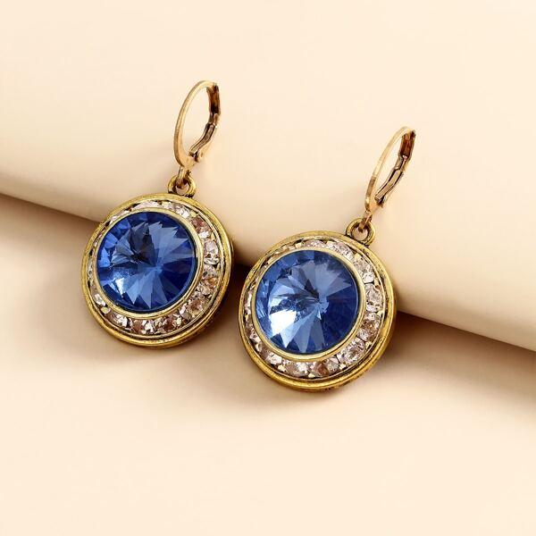 Rhinestone Drop Earrings, Blue