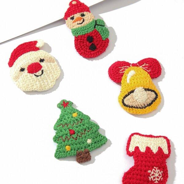 5pcs Christmas Tree & Bell Decor Hair Clip, Multicolor