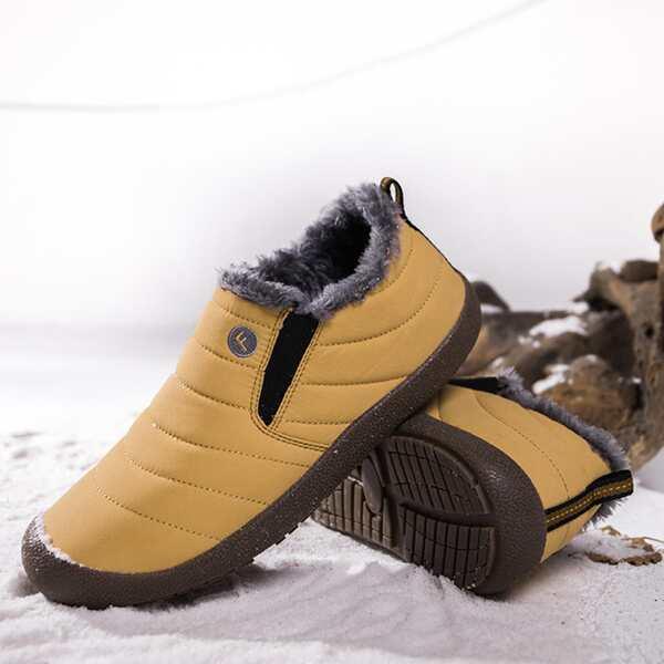 Men Fuzzy Striped Pattern Slip On Shoes, Yellow