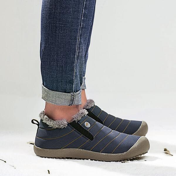 Men Fuzzy Striped Pattern Slip On Shoes, Blue