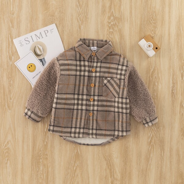 Toddler Boys Plaid Pocket Front Thermal Overcoat, Multicolor