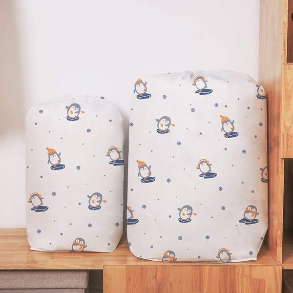 1pc Cartoon Penguin Print Quilt Storage Bag, Multicolor