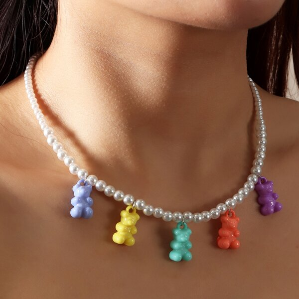 Bear Charm Beaded Necklace, Multicolor