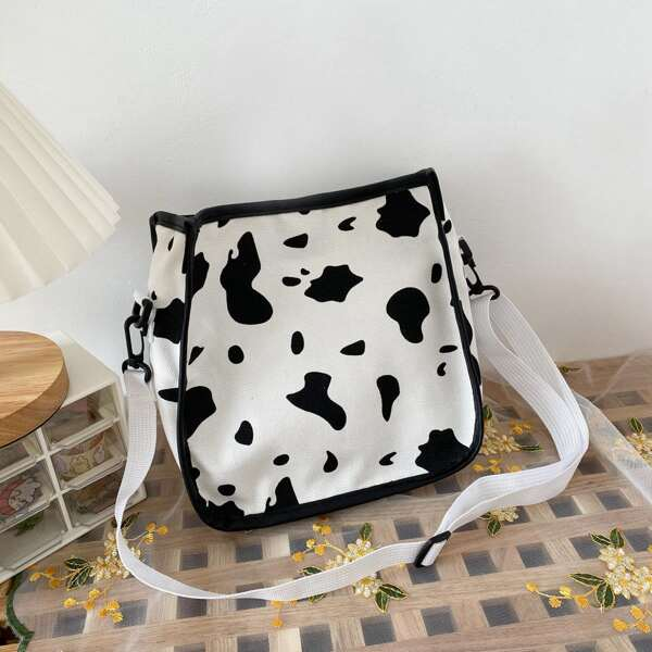 Cow Pattern Canvas Crossbody Bag, Black and white