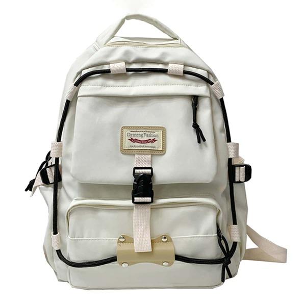 Men Buckle Decor Backpack, White