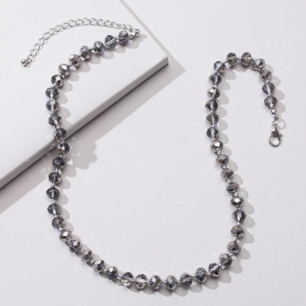 Minimalist Beaded Necklace, Grey