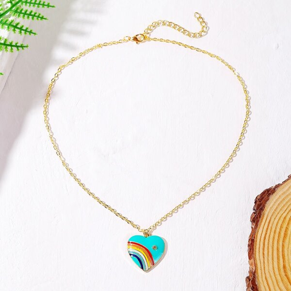 Color Block Heart Charm Necklace, Multicolor