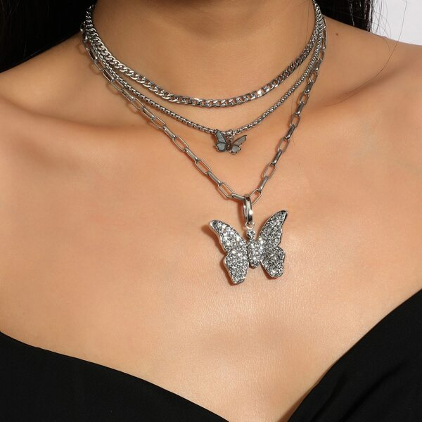 3pcs Butterfly Charm Necklace, Silver