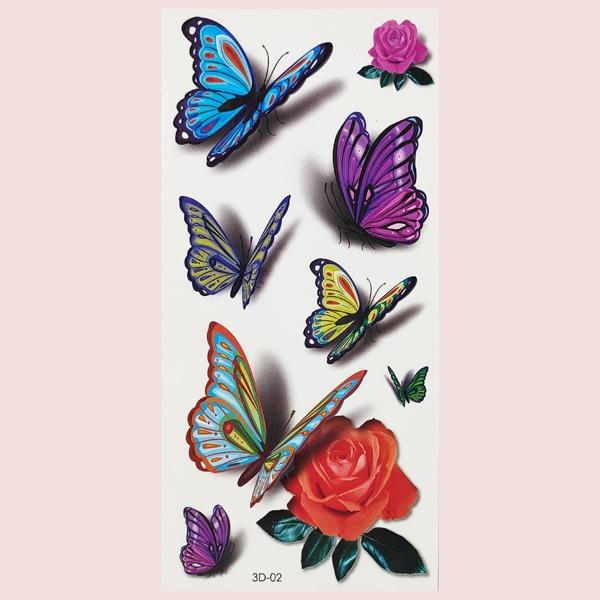 1sheet Butterfly Pattern Tattoo Sticker, Multicolor
