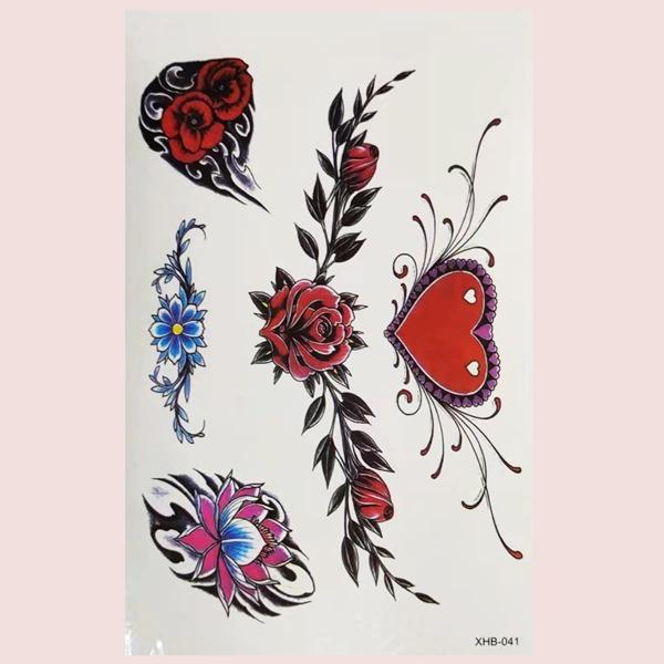 1sheet Flower Pattern Tattoo Sticker, Multicolor