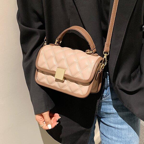 Minimalist Textured Flap Square Bag, Khaki