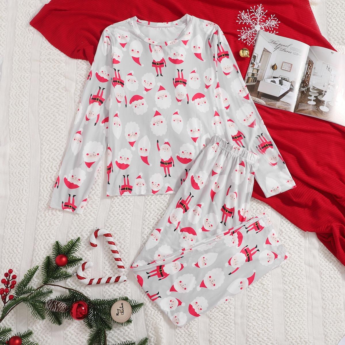 Christmas Print Top And Tartan Pants PJ Set