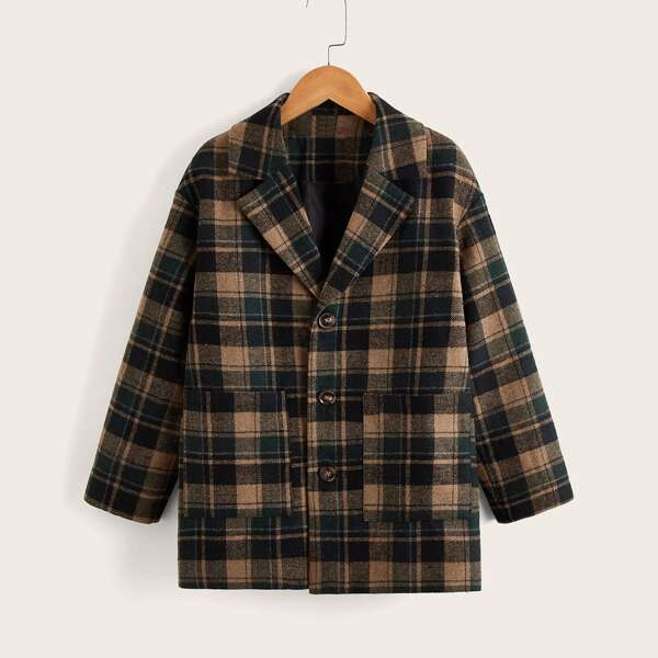 Boys Plaid Print Pocket Patched Overcoat, Multicolor