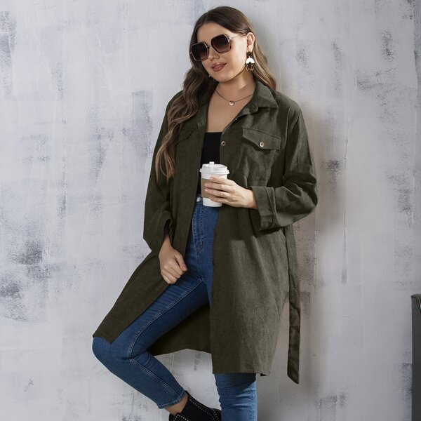 Plus Flap Pocket Belted Corduroy Coat, Army green