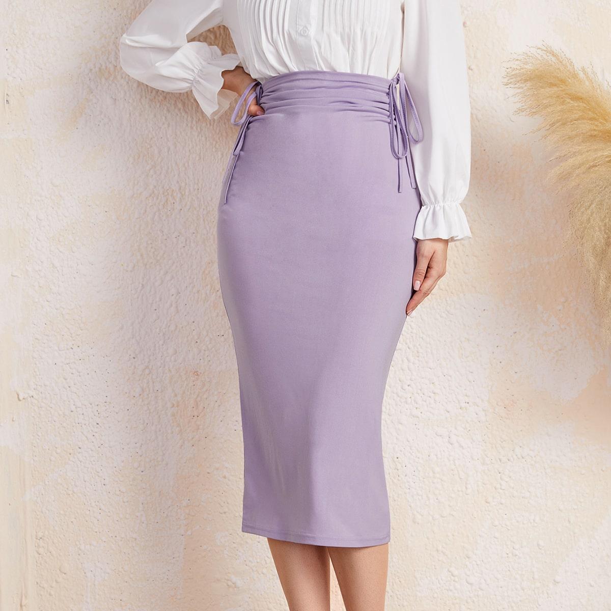 Falda de lápiz unicolor de talle alto