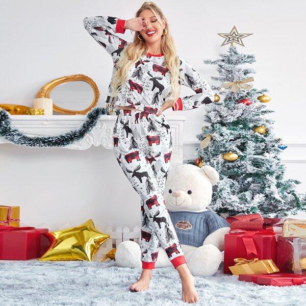 Christmas Tree & Bear Print PJ Set, Multicolor