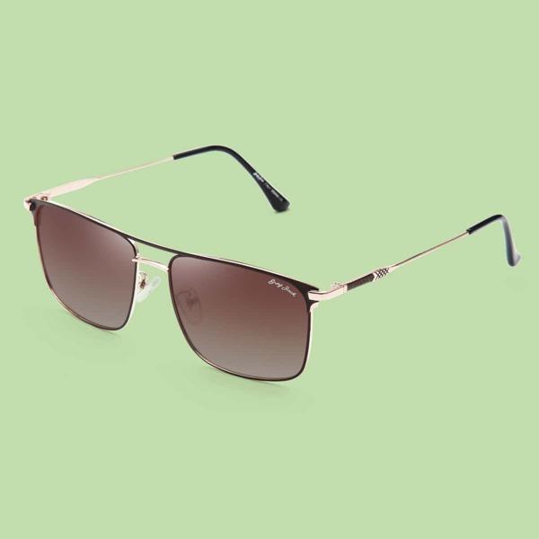 Men Polarized Square Frame Sunglasses, Ombre