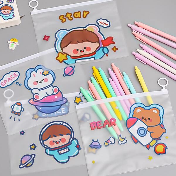 1pc Cartoon Graphic Random File Bag, Multicolor