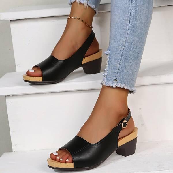 Minimalist Slingback Chunky Heeled Sandals, Black