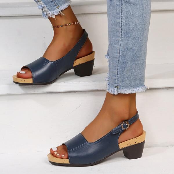 Minimalist Slingback Chunky Heeled Sandals, Navy blue