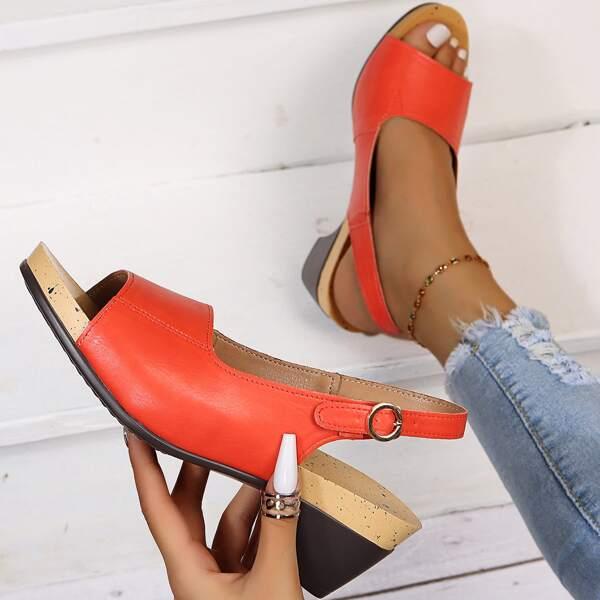 Minimalist Slingback Chunky Heeled Sandals, Burnt orange