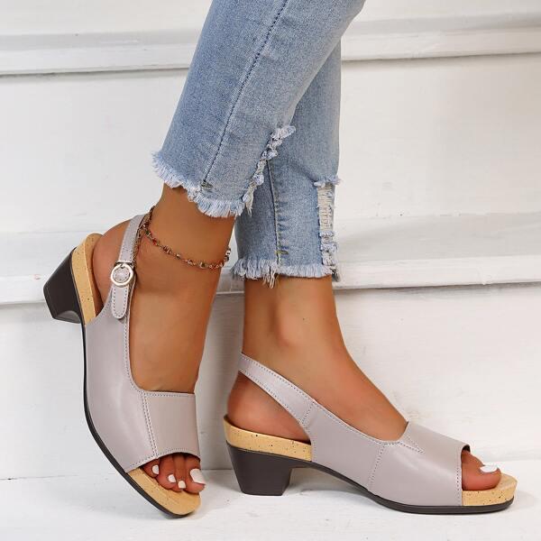 Minimalist Slingback Chunky Heeled Sandals, Grey