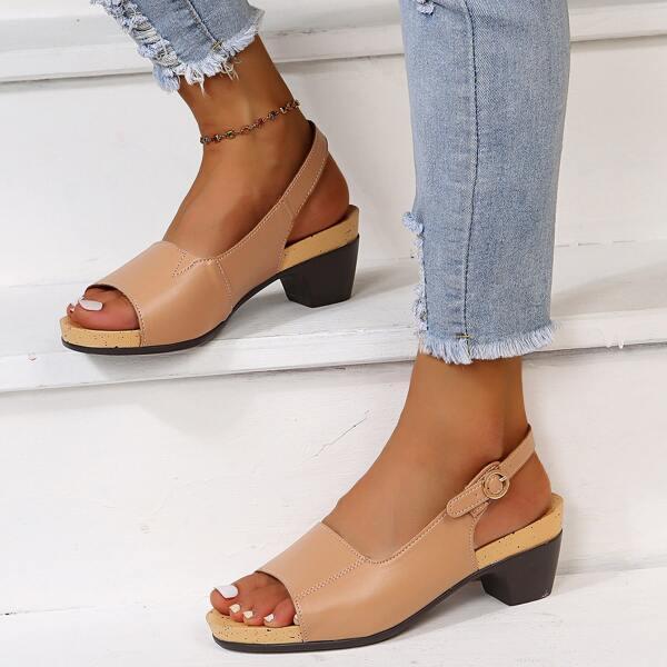 Minimalist Slingback Chunky Heeled Sandals, Khaki